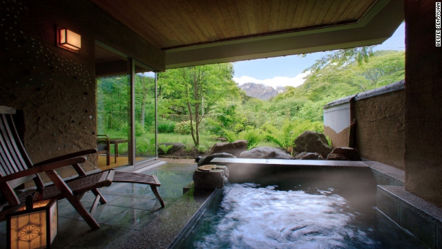 View from the private bath of a Bettei Senjyuan guest room outside Minakami, Japan