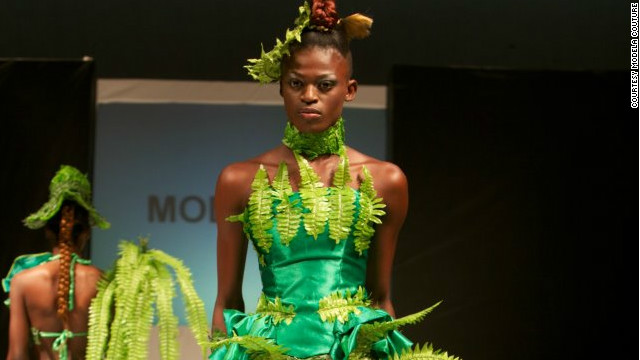 This year's Nigeria Fashion Week showcased a &quot;Going Green&quot; collection to create awareness of environmental issues. Dress by Modela Couture.