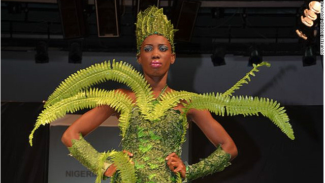 "Modela Couture designer Bayo Adegbe said: ""This looks like the forest ... I have these kind of ideas that are unusual but I love them, I believe in them."""
