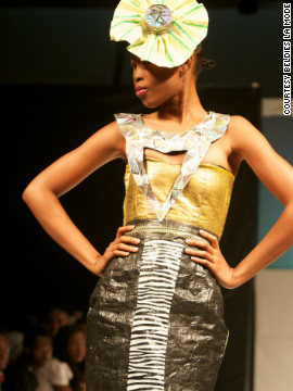 "Designer Boma Inko-Tariah, from fashion house Beldie's La Mode, created this fascinator from recycled materials. ""I cut up some damaged compact discs and then I used them,"" she said."