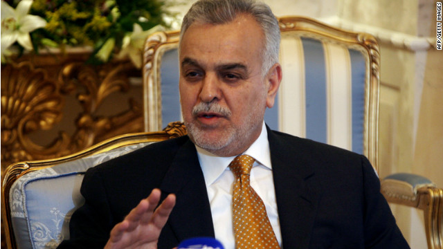 Iraqi Vice President Tariq al-Hashimi speaks to reporters at a news conference at Kuwait City's Bayan Palace in January 2008.