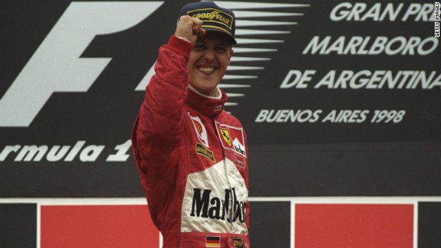 Michael Schumacher celebrates after winning the last Argentine Grand Prix to be raced, in April 1998.