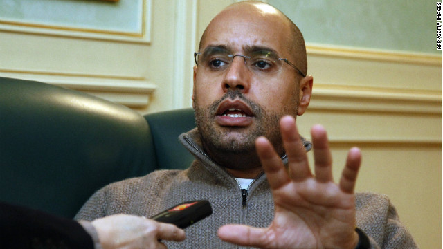Saif Gadhafi, son of Libyan leader Moammar Gadhafi, speaks during an interview with AFP in Tripoli on February 26, 2011.