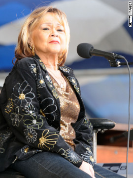 Etta James, here performing at the New Orleans Jazz &amp;amp; Heritage Festival in 2009, died Friday, January 20, due to complications from leukeimia, said her longtime friend and manager, Lupe De Leon. The singer was 73.