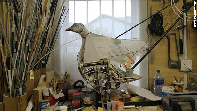 A goose puppet in the Handspring Puppets Company workshop.