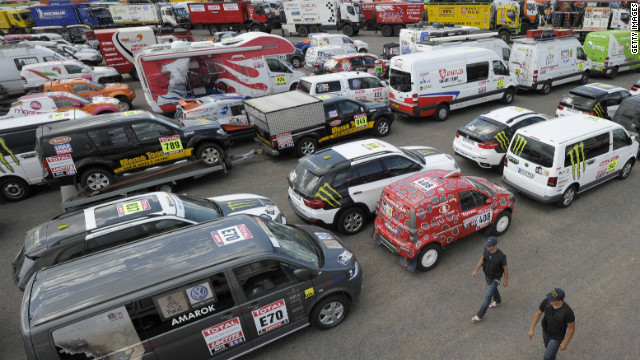 Vehicles gather in Buenos Aires ahead of the 2012 Dakar. In total, 465 cars, trucks, motorbikes and quadbikes began this year's race.
