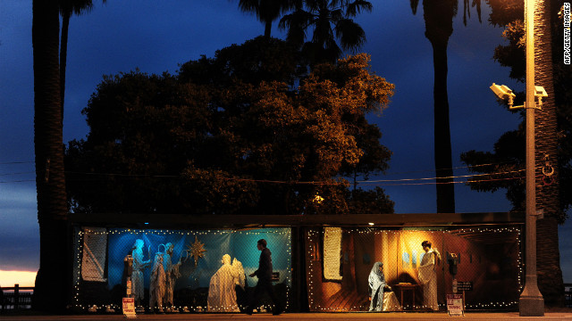 A creche stands in Santa Monica, California, where atheists have legally occupied space normally used for Nativity scenes.