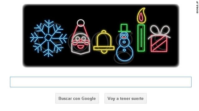 Google decora su «doodle» con las luces de Navidad