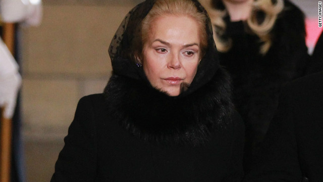 Dagmar Havlova, widow of former Czech President Vaclav Havel arrives at funeral. Havel, the country's first post-independence president died Sunday