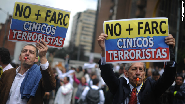 Colombians protest against the FARC rebel group on December 6 in Bogota.