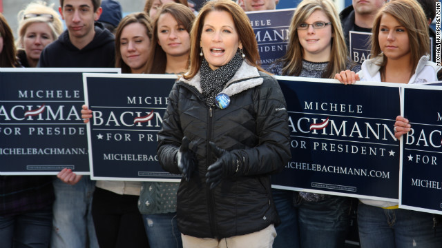Senator Michelle Bachmann speaks at Doose Cafe, in Marengo, Iowa, on December 22. Bachman is a favorite of the conservative tea party movement. She voted against authorizing U.S. military involvement in the U.N. mission in Libya. She also voted against a bill to give some students who arrived in the country illegally an opportunity for permanent residency if they went to college or served in the military.