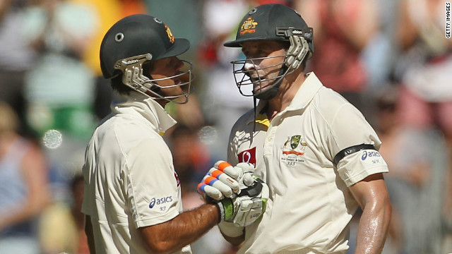 The veteran duo of former captain Ricky Ponting (left) and Mike Hussey rescued Australia in Melbourne on Wednesday.