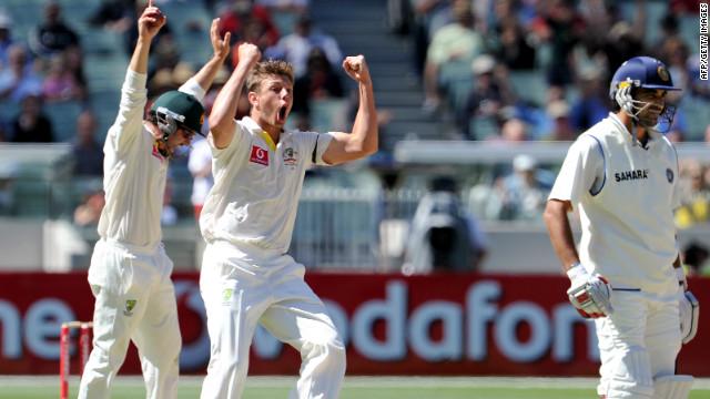James Pattinson celebrates the dismissal of Zaheer Khan as Australia closed on victory at the MCG.