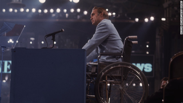 Alabama Gov. George Wallace speaks as a presidential contender at the Democratic National Convention in July 1972. An assassination attempt in May had left him permanently paralyzed from the waist down.