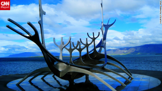 Richard Wile captured this lovely perspective of the Sun Voyager sculpture, modeled after a Viking ship and crafted by artist Jon Gunnar Arnason.