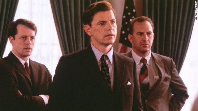 "Bruce Greenwood portrayed President John F. Kennedy, with Kevin Costner playing Kennedy's top aide Kenneth O'Donnell, during the 1962 Cuban missile crisis in ""Thirteen Days."""