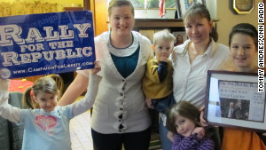 Crystal McIntrye, a converted Ron Paul supporter, says her children see the politician as a grandpa.