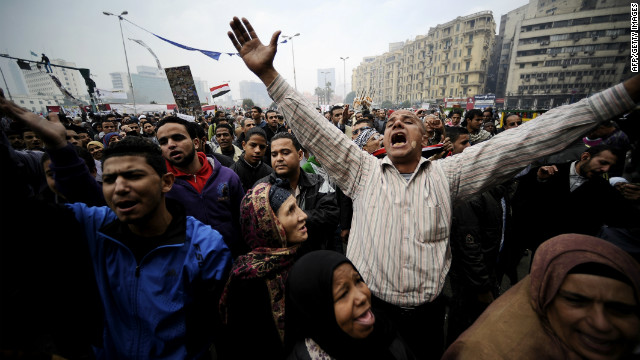 Egyptian protesters chant during a demonstration in Cairo's Tahrir Square.
