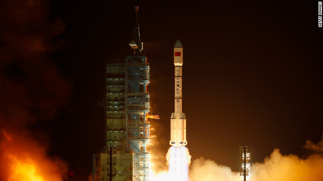 A Long March 2F rocket carrying China's first space laboratory module lifts off on September 29, 2011 in Jiuquan.