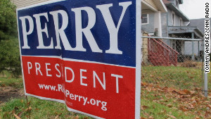Potts, who spends about 20 hours a week making calls, also displays a Perry campaign sign in her yard.