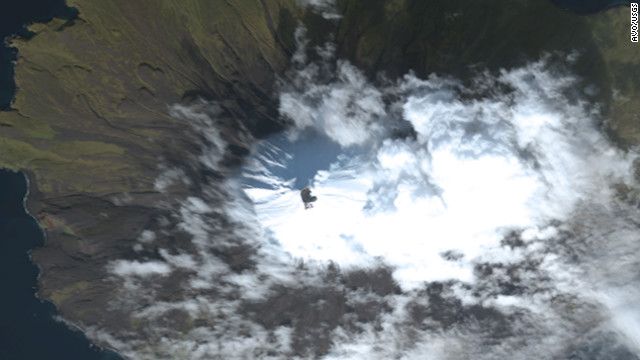 A satellite image of Alaska's Cleveland Volcano from October 7, 2011.