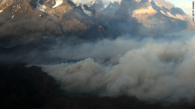 Smoke billows from a fire raging in the Torres del Paine National Park in southern Chile on Wednesday.
