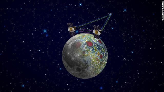 As depicted in this artist's redition, the twin GRAIL spacecraft will map the moon's gravity field.