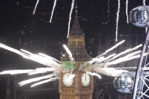 Big Ben lights up the London sky