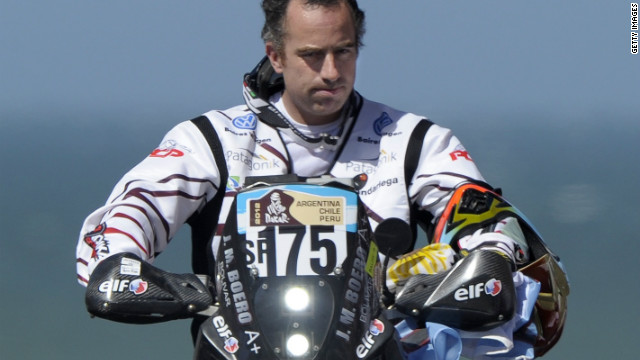 Argentina motorcyclist Jorge Boero is pictured before the start of the Dakar Rally. He was killed on the first special stage.