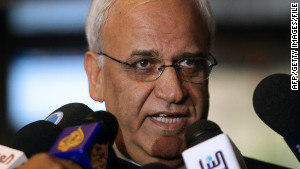 Palestinian peace negotiator Saeb Erakat and his Israeli counterpart plan to resume peace talks on Tuesday.