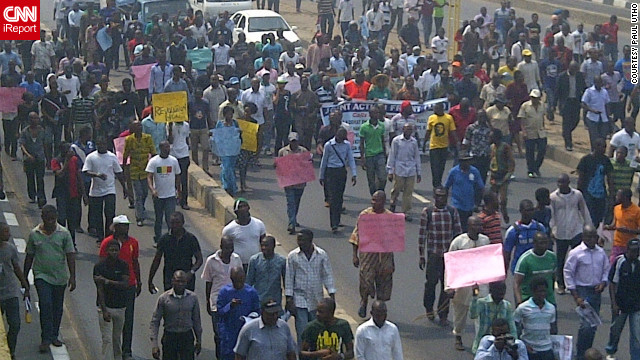 "iReporter Paul Utho took this photo of the protests in Ikorodu Road, Lagos. ""The people are tired of this insensitive government,"" he said."
