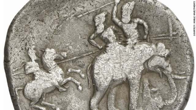 The coin is believed to commemorate Alexander the Great's defeat of the Indian King Poros at the battle of the Hydaspes in 326 B.C.
