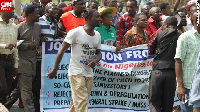 After learning about the fuel subsidy protests from Twitter on Tuesday 3 January 2012, iReporter Kfire decided to join the crowds in Lagos, where he took this photograph.