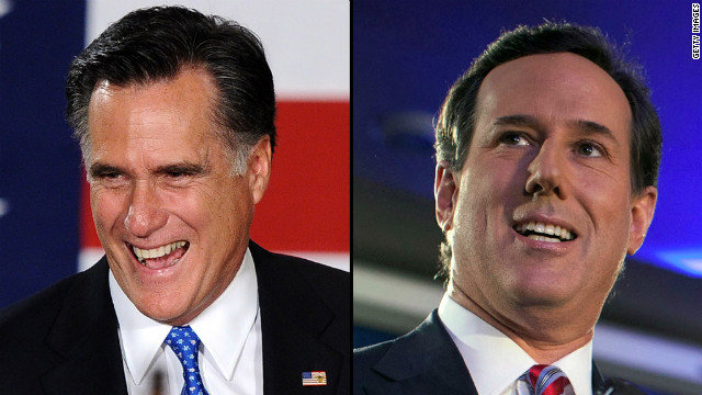 Romney, Santorum on top as GOP race shifts to New Hampshire