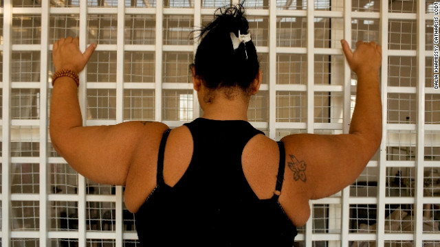 An inmate of Baabda Women's Prison, Beirut, Lebanon.