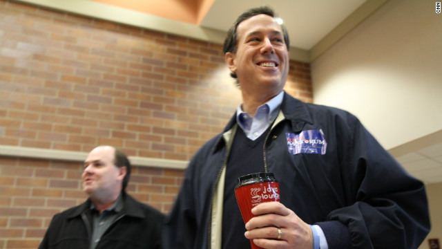 GOP presidential candidate Rick Santorum campaigns last week in Coralville, Iowa. He visited all of the state's 99 counties.