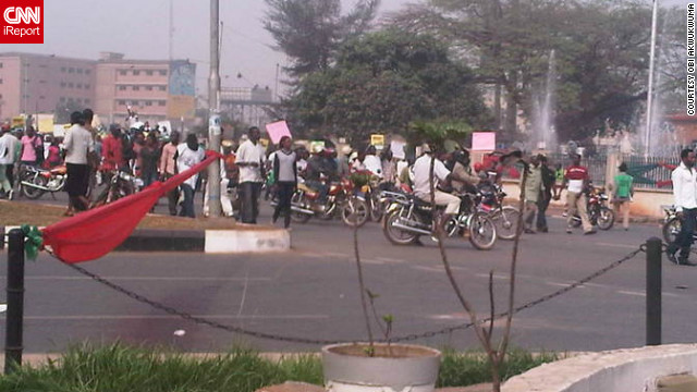 Obi Akwukwuma, 47, observed the demonstrations at King's Square in Benin City on Thursday, January 5. Akwukwuma, who works on an engineering project nearby, took this photo with his BlackBerry as demonstrators protested the removal of fuel subsidy.