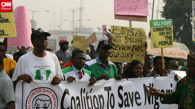 Adjarho David Obaro, who is currently in Nigeria for the holidays, took photos of the protests near King's Square in Benin City on Thursday, January 5. He said there were thousands of protesters there from different backgrounds.