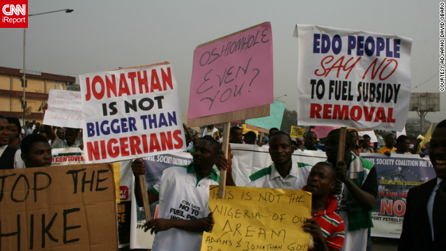 Protesters have taken to the streets across Nigeria in recent days after gas prices more than doubled following the government's decision to take away fuel subsidies.