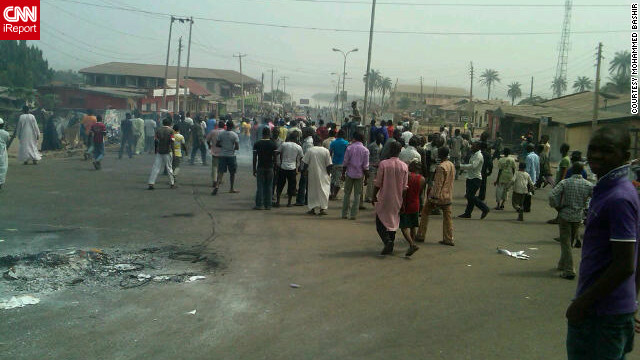 Freelance journalist Mohammed Bashir observed the large protest in his town of Lokoja, Nigeria, on Tuesday, January 3. He snapped this photo with his BlackBerry as hundreds gathered in the street.