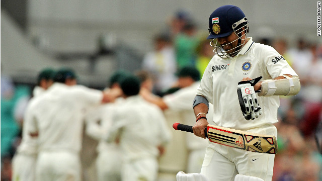 India batsman Sachin Tendulkar leaves the field after being dismissed for 80 on day four at the Sydney Cricket Ground.