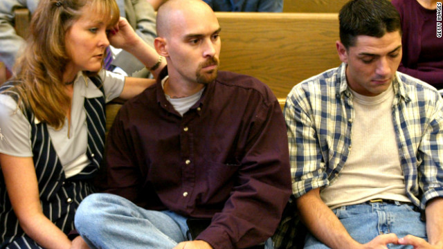 Mark Keane and Patrick McSorley, both victims of John Geoghan, a priest defrocked in sex abuse scandal, at a hearing in 2002.