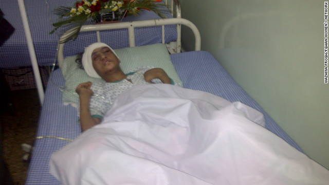 Badly beaten and traumatized Sahar Gul, who refused to be sold into prostitution, gets medical care in an Afghanistan hospital.