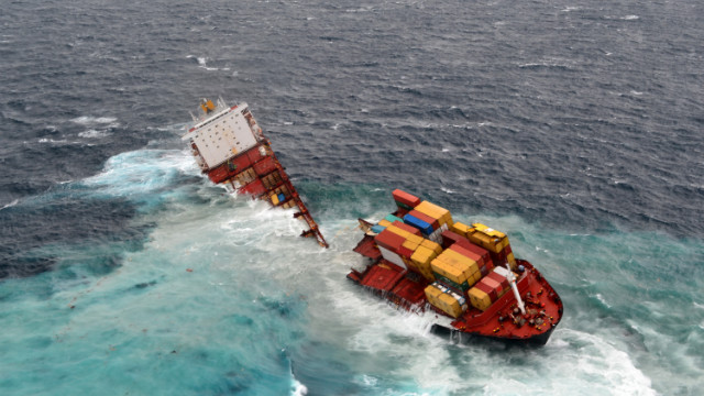 In this handout provided by Maritime New Zealand, MV Rena is seen in two pieces after overnight bad weather pounded the vessel, on January 8, 2012 in Tauranga, New Zealand.
