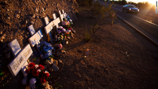 A memorial along the highway in Tucson commemorates each of the six people who lost their lives.