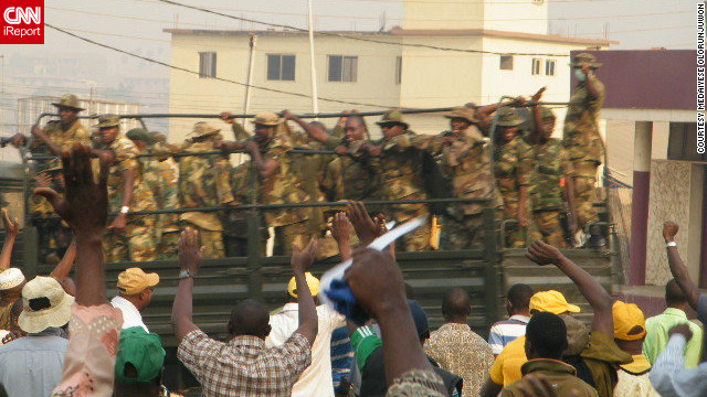 This picture, taken by iReporter Medaiyese Olorunjuwon shows the armed forces monitoring protesters in the city of Ilorin, Kwara State capital. Olorunjuwon said: &quot;The protesters were cheering the armed forces... All in all it was peaceful.&quot;
