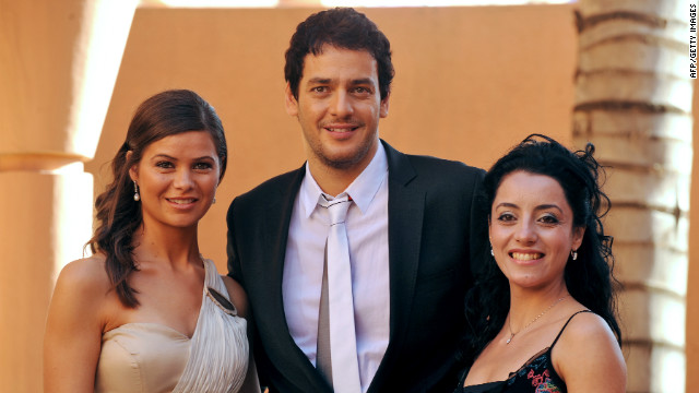 Naga is one the Arab world's most prominent film stars. Here he is photographed with Egyptian actresses Yousra El Louzy and Aya Soliman at the Marrakech International Film Festival in December 2009.