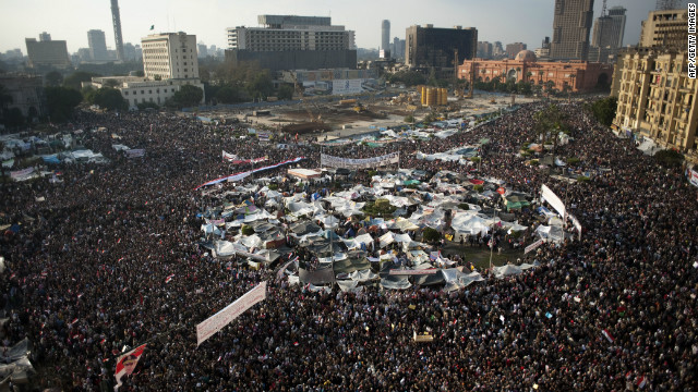 Hundreds of thousands of Egyptian anti-government demonstrators crowd Cairo's Tahrir Square on February 8, 2011.
