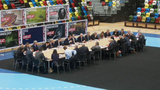 To mark 200 days until the start of the London 2012 Olympic Games, British Prime Minister David Cameron held a meeting with his cabinet on court at the purpose-built handball arena. London will become the first city to host the Games three times when the action begins in July, having previously staged the Olympics in 1908 and 1948.