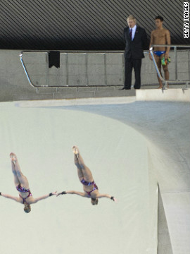 British diver and gold medal hopeful Tom Daley gives Johnson a taste of life on the high board.